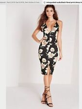 Missguided Nude/Black Flower Power Strappy Midi Bodycon Dress. Size 6.