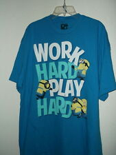 NEW 2XL DISPICABLE ME ADULT T SHIRT MINIONS WORK HARD PLAY HARD  100% COTTON