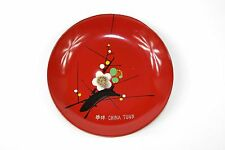 Lacquer 4 pc Plate Set Flower Scene China Town Hand Painted Plastic