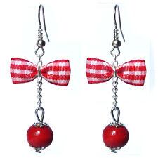 Boucles D'oreilles femme rétro pin up noeud papillon carreaux vichy perle rouge