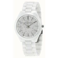 MICHAEL KORS MK3448 Slim Runway Crystal Pave Dial Ladies White Ceramic Watch