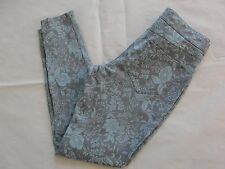 NWT Hue Women Floral Metallic Super Smooth Denim Skimmer Leggings Sz XS Aqua Sky