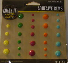 NEW 30 pc CHALK IT NOW ADHESIVE GEMS Stickers Multi-color K & CO 3D