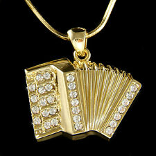 w Swarovski Crystal Bass Piano ~Accordion Squeezebox Folk Musical Music Necklace