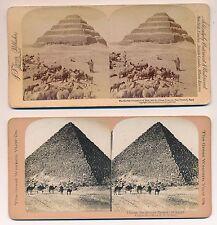 stéreo lot 2 stéreos Egypte pyramides Kheops et Saqqarah albumine argentique