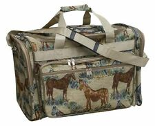 "HORSE DESIGN HEAVY TAPESTRY FABRIC 22"" DUFFEL BAG HORSE LOVERS DUFFLE LUGGAGE"