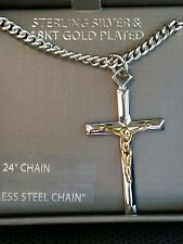 "Men's .925 Sterling Silver & 18k Gold Cross Pendant  Necklace 24"" FREE SHIPPING"