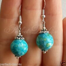 925 Sterling Silver Hook Blue White Turquoise Color Round Pretty Earrings