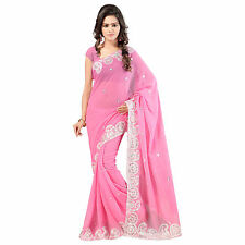 Indian Party Wear Designer Light Pink Georgette Embroidered Saree With Blouse