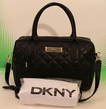NEW AUTHENTIC DKNY BLACK QUILTED LAMB NAPPA LEATHER HANDBAG TOTE WOMEN'S SATCHEL