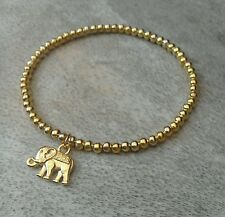 Simple Gold Ball Beaded Lucky Elephant Surfer Stretch Bracelet, HANDMADE