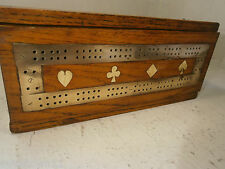 Antique Oak Cribbage Playing Card Scorer  Box     ref 229