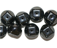 Hematite Gray Shiny Chunk Czech Pressed Glass Beads 10mm (pack of 8)