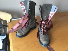 Dr Martens 1914 brown grey triumph union jack boots UK 5 EU 38 punk biker