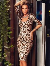New leopard print bodycon midi dress club wear party summer wear Size L UK 12