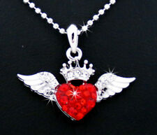 Royal Crown Heart Angel Wings Austrian Crystal Pendant Silver Tone Necklace Red