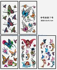US Seller-roses butterfly 5 sheets temporary tattoo stickers temporary tatoos
