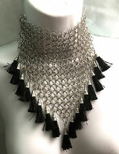 chain mail silver choker collar necklace bib link black tassel medieval punk