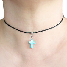 Turquoise Cross Charm Pendant Choker Necklace with Black Cord