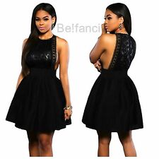 NEW SEXY BLACK LACE OPEN SIDES SIDE BOOBS SKATER DRESS SIZE 8 10 12 14 UK