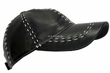 New BASEBALL Black White Stitches Ladies Mens Real Leather HipHop Cap Hat
