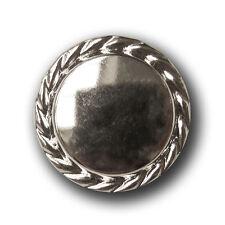 5 edle silber glänzende Metallblech Knöpfe mit gekördeltem Rand (5240si-23mm)