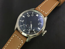 47mm Parnis 6498 Hand Winding Black Dial White Number Men's Watch