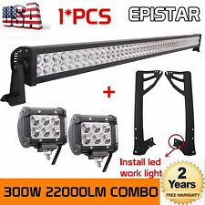 "52'' 300W Combo Beam+2X4"" 18W LED Lights Bar+Mount Brackets For Jeep Wrangler JK"