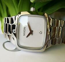 "NIXON ""The Player"" mens WHITE watch REAL DIAMOND Silver Stainless Steel RRP $500"