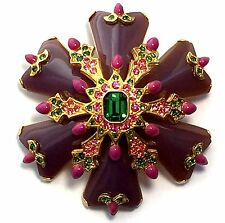 Joan Rivers Star Burst Purple Green Faux Emerald Pin Brooch Gold Tone Large RARE