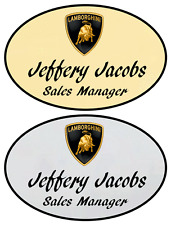 1 Gold & 1 Silver Oval Lamborghi Personalized Name Badges Magnetic Fastener