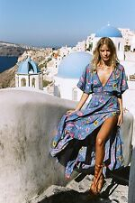 NWT SPELL DESIGNS & THE GYPSY COLLECTIVE LOVE BIRD HALF MOON GOWN DEEP SKY XS