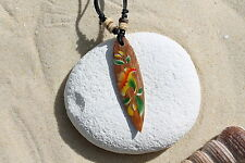 NEW WOODEN RETRO FLOWER SURFBOARD PENDANT NECKLACE SURFER TALISMAN BEACH / n243d