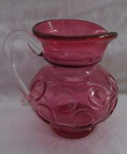 KANAWHA ART GLASS CRANBERRY TEXTURED COIN DOT GLASS  PITCHER JUG -2