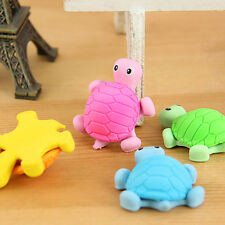 1x Creative Turtle Animal Tortoise Cartoon Rubber Pencil Eraser Stationery Kids