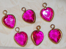 #680 Vintage Heart Charms Connectors Purple Hearts Old ONS Dangle Connector