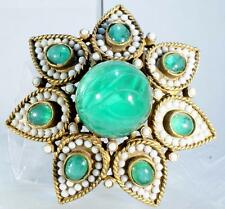 Kenneth J Lane Vintage Huge Brooch With Pearls And Emerald Green Cabochons