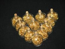 Gold Leaf Flakes in 12 Oval Glass Bottles with Cork 3 1/2 ML