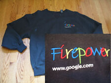GOOGLE logo Fleece CREW SWEATSHIRT S Firepower Black SM Employee Small Android