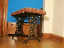 Antique Aesthetic Movement Upholstered Iron Bench Piano Stool Stand Lion Torches