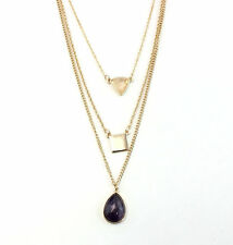 Gold Plating Multilayer Geometrical Pendant Amethyst Drop Necklace