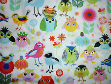 CLEARANCE FQ BRIGHT CUTE FUNKY BIRDS OWLS NESTS FLOWERS FABRIC