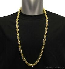 "18K GOLD PLATED RUN DMC HIP HOP ROPE CHAIN DOOKIE 10mm x 30"" FILLED HIGH QUALITY"
