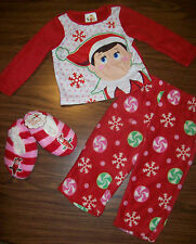 Girls Christmas ELF ON THE SHELF Pajamas AND Slippers Size 2T  NEW NWT  MSRP $42