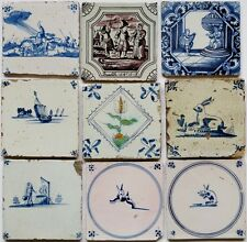 9 Antique Dutch Delft delftware tiles carreau, rabbit, tulip, biblical 1650-1780
