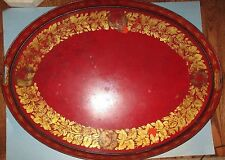 """Antique Toleware Tole Ware Hand Painted Large 29"""" x 22"""" Tray Flowers Tin Platter"""