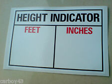 COMMERCIAL VEHICLE CAB HEIGHT INDICATOR HGV Sticker 1 off 150mm