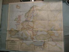 VINTAGE EUROPE AND THE NEAR EAST LARGE WALL MAP National Geographic June 1949