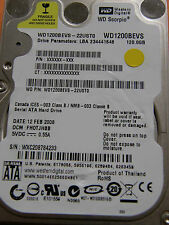 120 GB Western Digital WD1200BEVS-22UST0 / FH0TJHBB / 2060-701499-000 REV A - HD