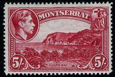Montserrat - 1942 5/- ROSE-Carmine PERF 14 SG 110a montato Nuovo di zecca v10575